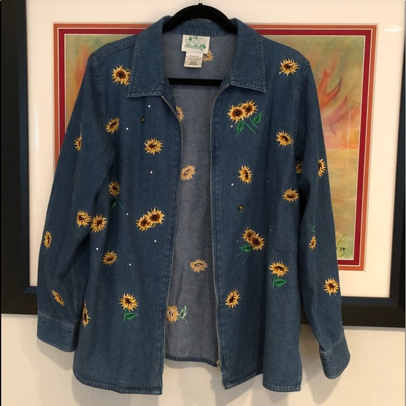 Quacker Factory Jackets & Blazers - Quacker factory Medium denim sunflower zip jacket